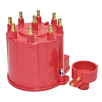 A-Team Performance 8-Cylinder EFI Distributor Cap & Rotor Kit Compatible with GM 454 305 350 RED: Automotive