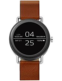 Falster Stainless Steel and Brown Leather Smartwatch SKT5003