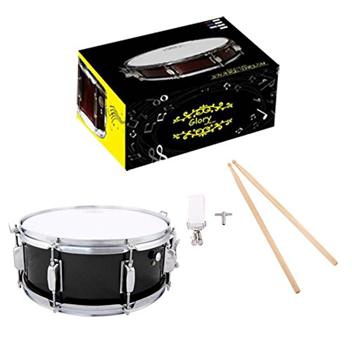 Glory Snare Drum With Sticks, and Strap, for Beginners and Students, Black Color- Click to Choose More Colors by Glory