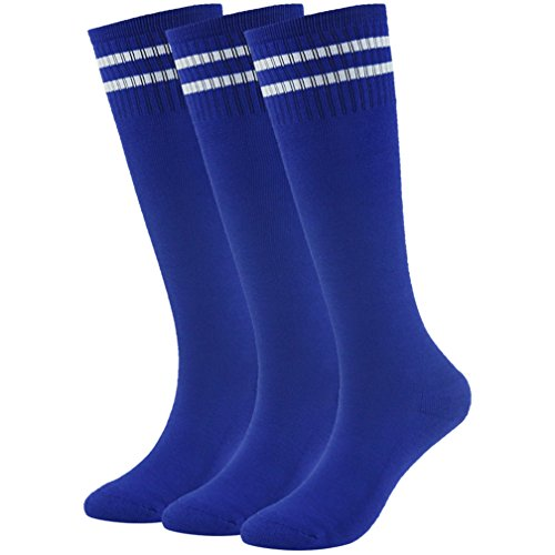 (Soccer Socks Basketball Socks Youth Long Knee High Cotton Cushion Tube Socks 3 Pairs Blue)