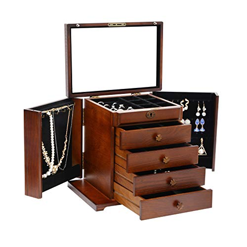 Large Wooden Jewelry Box Women Jewelry Storage Box,Built-in Mirror and Lock, Top Carving Pattern, 11.9L x 8.1W x 10.7H inch Brown