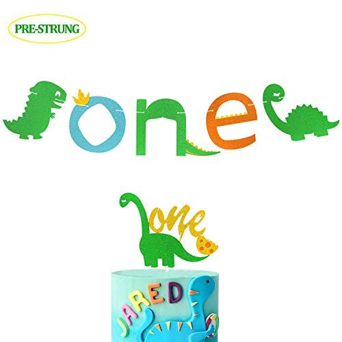 First Dinosaur Banner 1st Cake Topper Dino One Theme Highchair Garland Birthday Party Baby Shower Supplies Glitter Decorations
