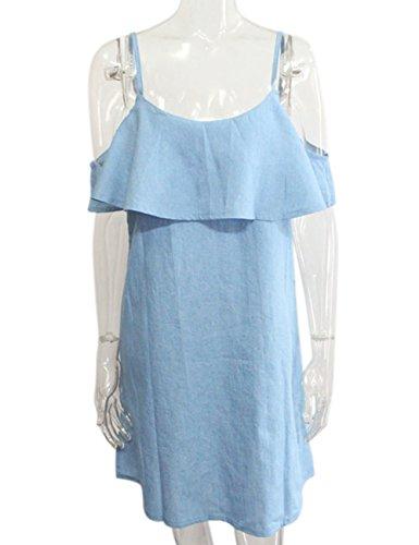 Yiwa Fashionable Women Denim Ruffled Off-Shoulder Dress Sexy Skirt Gift Light Blue S