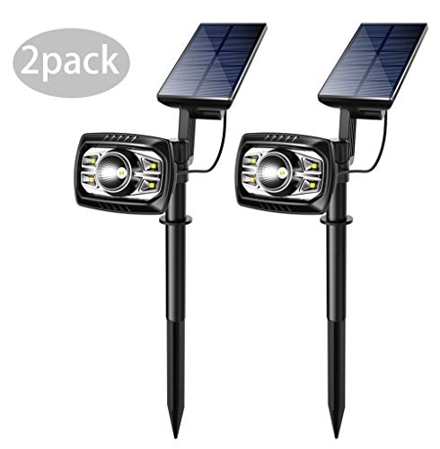 ieGeek Solar Lawn Spot Light 2-in-1 Solar Spotlight Outdoor 5 LED Waterproof Rotary Solar Powered Security Light Landscape Spotlights for Garden Lawn Yard 2 Pack