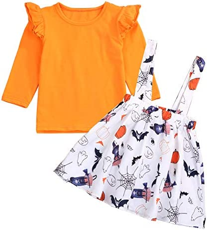 Headband Skirt Set Pumpkin Maple Leaf Print Strap Dress Toddler Baby Girls Thanksgiving Clothes Long Sleeve Romper
