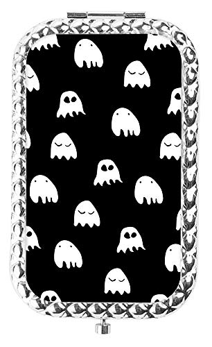 IMLONE Rectangle Silvery Little Ghost Compact Purse Mirror with 2X Magnification, Portable Folding Makeup Mirror, Great Choice and Best Gift for You and Your Friend