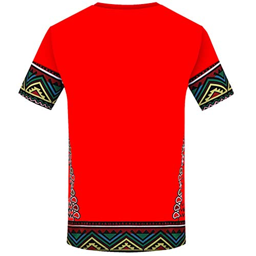 Pervobs Men's Retro African Printed T Shirt Summer Short Sleeve Crew Neck Casual T-Shirt Top Blouse Regular Fit(XL, Red) by Pervobs Mens T-Shirts (Image #1)