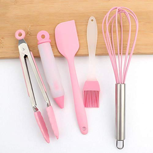 Vicanba Baking Pastry Tools - 5pcs Silicone Baking Stainless Steel Egg Beater Brush Food Clip Cake Decorating Pen Pink - Pastry Baking Tools Baking Pastry Butter Brush Toothpick Food Color Silicon Co