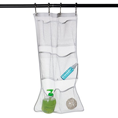 Cosmos ® 6- Pocket Mesh Bath Shower Organizer Hanger Holder with 4 Curtain Rings ()