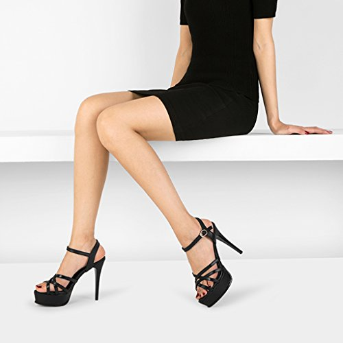 à Noir Avec Sexy Talons Fines 12cm Fine Sandales Sandales des des Femmes Imperméable Boucle Chaussures à wysm Hauts Féminine Avec Table B5RCcw