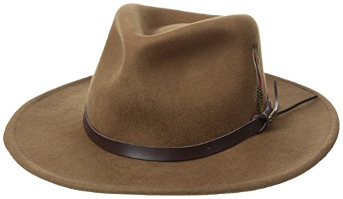 Brown Felt Hat (Scala Classico Men's Crushable Felt Outback, Pecan, Large)
