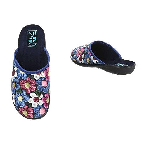Damen Hausschuhe   Winter Pantoffel   Schluppen gefüttert   Haus Schuhe mit Absatz   Schuhcity24 Blau 7