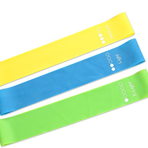 CAMPSNAIL Exercise Loops Resistance Bands for Women - 12 inch Fitness Elastic Training Brands for Pilates, Yoga, Physical Therapy, Home Workout, Set of 5 & Carrying Bag (GBY MIX3)