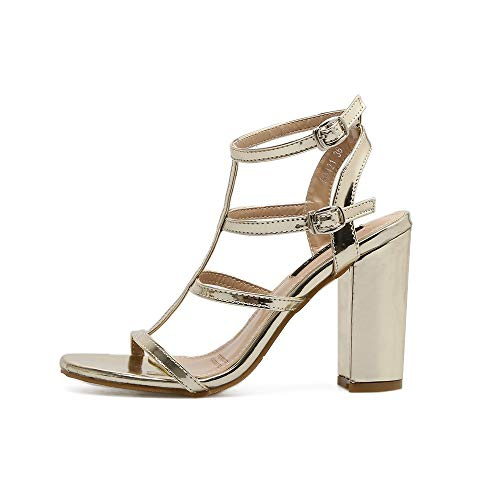Top Shishang Womens Ankle Strap Platform Pump Dress High Heel Roman Shoes Court Shoes Hollow Club bar Wedding,Gold,37