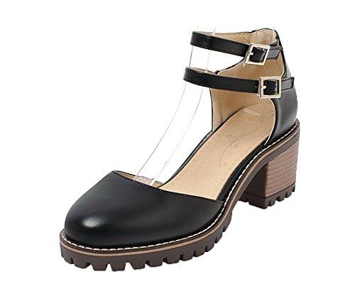 WeenFashion Kitten Closed Sandals Buckle Black Pu Toe Heels 32 Women's Solid rqpIr