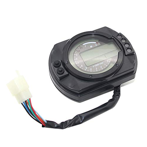 TOOGOO 7 Color 12500Rpm Display Motorcycle Digital Speedometer Lcd Gauge Speedometer Tachometer Odometer Instrument Adjustable: