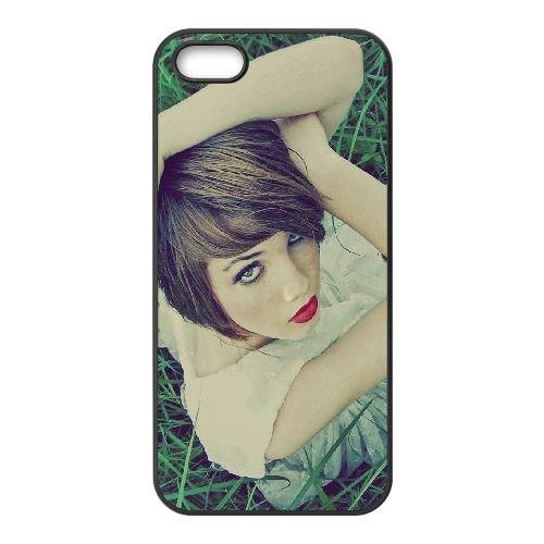 Brunette Grass Model View Eye Make Up coque iPhone 4 4S cellulaire cas coque de téléphone cas téléphone cellulaire noir couvercle EEEXLKNBC23897
