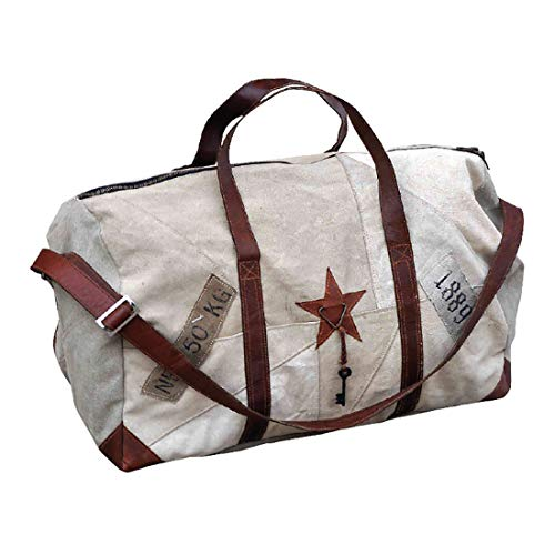 Large Upcyled Military Tent Star Duffle Bag by Clea Ray (Duffle Recycled Small)