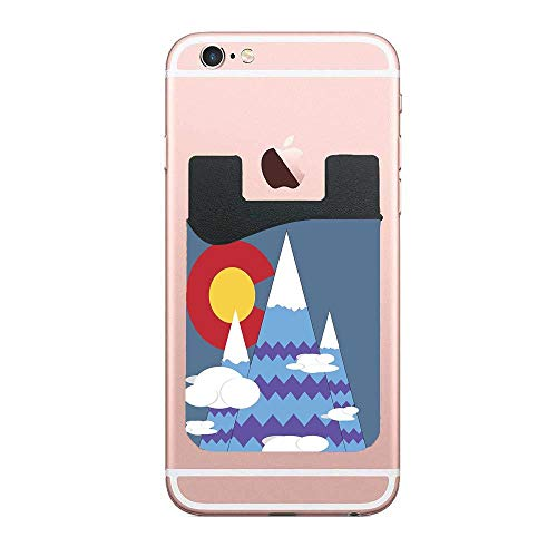 Phone Card Wallet - Colorado Mountains Adhesive Phone Pocket,Credit Card Holder Sleeves Phone Wallet Sticker for All Smartphones