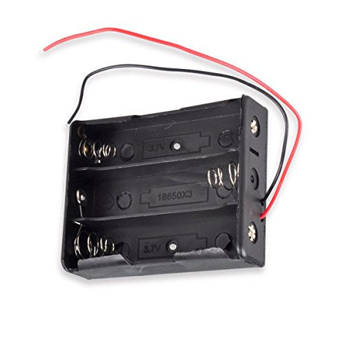 18650 Battery Holder, 3-Slot 3.7V 18650 Battery Storage Box Case with 6inch Bare Wire Leads ()