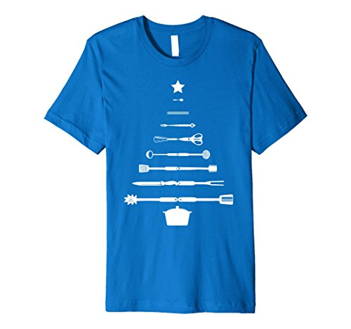 Mens Christmas Tree Chef Utensils Holiday Cooking T-Shirt 2XL Royal Blue
