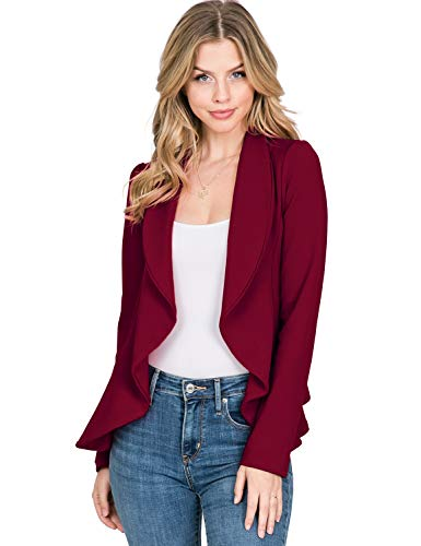 Jersey Long Sleeve Blazer - CLOVERY Women's Long Sleeve Lightweight Chiffon Open Front Blazer, Burgundy 2X Plus Size