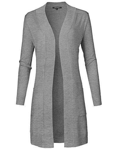 - Solid Soft Stretch Long Sleeve Open Front Knit Cardigan Heather Gray M