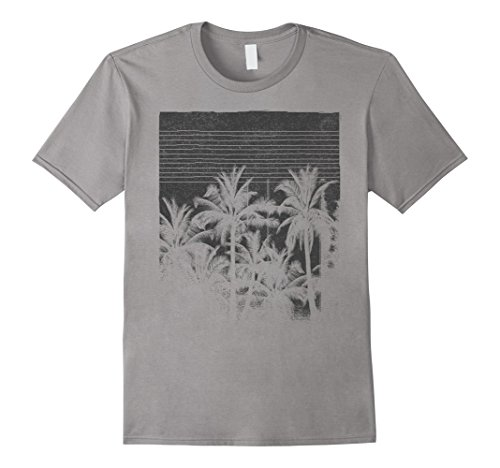 Mens Palm Tree Silhouette Faded Grunge Vintage Graphic T-Shirt Large - Palm T Shirt