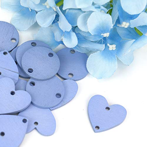 0.5' Disc Color - JETEHO 100 Pieces in Total, Wooden Hearts/Round Shaped Sets with 2 Holes, Blank Wooden Discs Embellishments and 100 Pieces 12 mm Rings for Birthday Board Calendar DIY Crafts