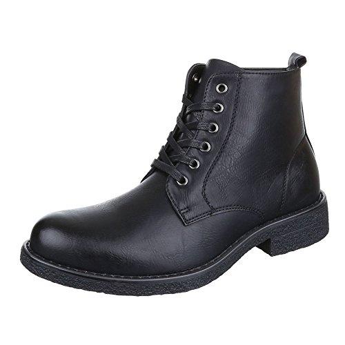 Ital-Design Stiefeletten Herren Schuhe Desert Boots Blockabsatz Leicht Gefütterte Schnürsenkel Boots Schwarz