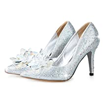 Naly Women's Ken multicolored Cinderella Bridal Bridesmaid Glass Slipper Princess Crystal Shoes