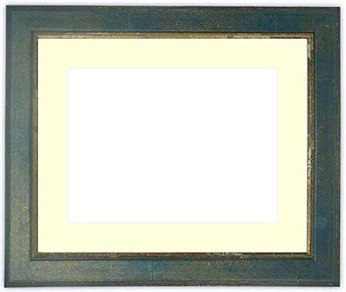 水彩額 9650/ブルー 水彩F8(455×380mm)専用 前面アクリル仕様 マット付き マット色:クリーム B01G2YE3TQ
