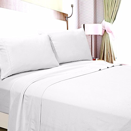RV Mattress Short Queen Sheet Set - (60x75) Solid White 400 Thread Count Egyptian Cotton -Made Specifically for RV, Camper & Motorhomes