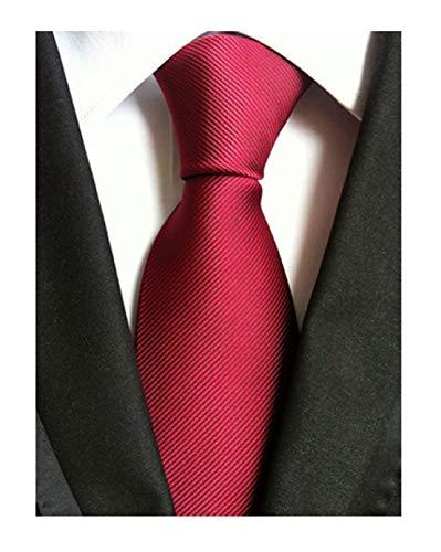 (Men Dark Red Wedding Silk Ties Woven Tuxedo Necktie Creative Design Gift for Him)