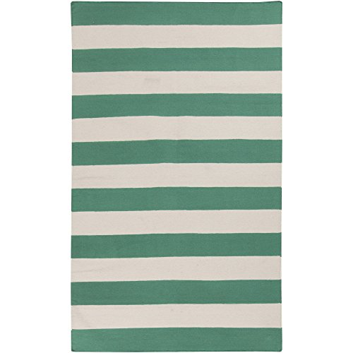 Surya FT538-58 Hand Woven Casual Area Rug, 5 by 8-Feet, Emerald/Kelly Green/Ivory (Rug Green Area Kelly)