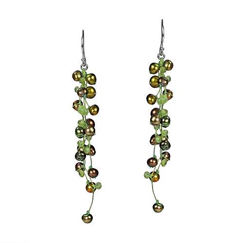 Classy Ruffles Cultured Freshwater Dyed Green Pearl-Peridot Stone Earrings