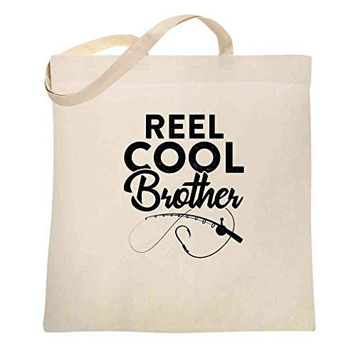 Reel Cool Brother Fishing Rod Fisherman Funny Natural 15x15 inches Canvas Tote Bag