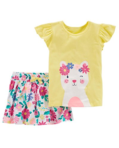 (Carter's Girls' 2T-5T Striped Top and Skirt Set (4T, Yellow/Floral))