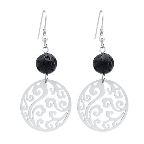 Lava Rock Cast Earrings Stainless Steel Round
