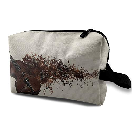 Guitar Instrument Cosmetic Bags Makeup Organizer Bag Pouch Zipper Purse Handbag Clutch Bag