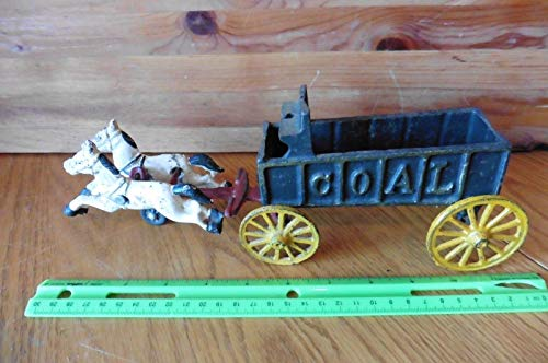 Cast Iron Horse drawn Coal Buggy carriage wagon with 2 horses Vintage toy -