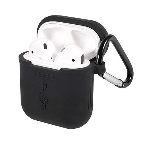 Protective Cover/Skin for Apple Airpods Charging Case Silicone Made with Hang Function Keychain/Lockable Carabiner for case (Black)