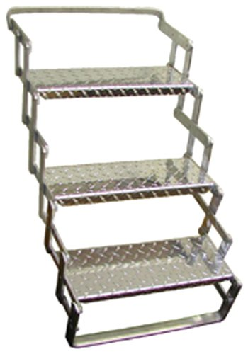 C. R. Brophy AS03 Aluminum Scissor Steps - 3 Step, 24'' - 30'' Extended Vertical Height by CR Brophy Machine Works