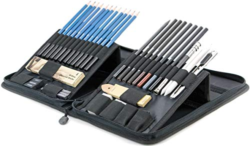 Drawing and Sketching Pencil Set in Zippered Carrying Case - The Essential Artist Supplies in a Compact, Protective, and Travel-Friendly 40-Piece Kit with Eraser, Pastels, Graphite and Charcoal Sticks