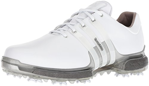 adidas Men's TOUR 360 2.0 Golf Shoe, White/Trace Grey, 10 M US