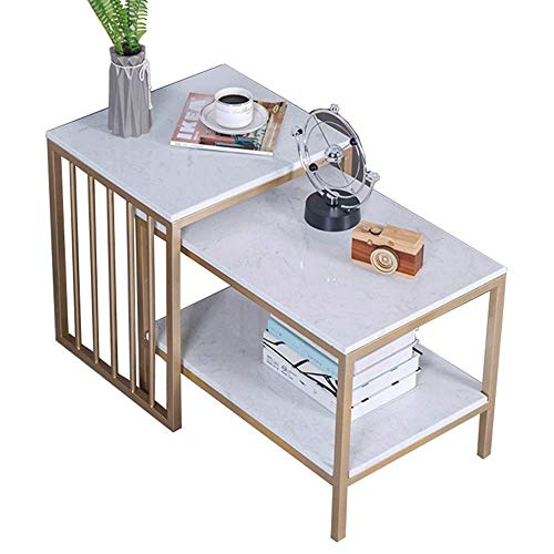 HomeSelected-FurnitureNesting-Tables-Living-Room-Coffee-Tables-Side-Tables-Snack-Accent-TablesWhite-Marble-Desktop-and-Gold-Metal-Frame-Set-of-2-Color-Gold-Color-Gold