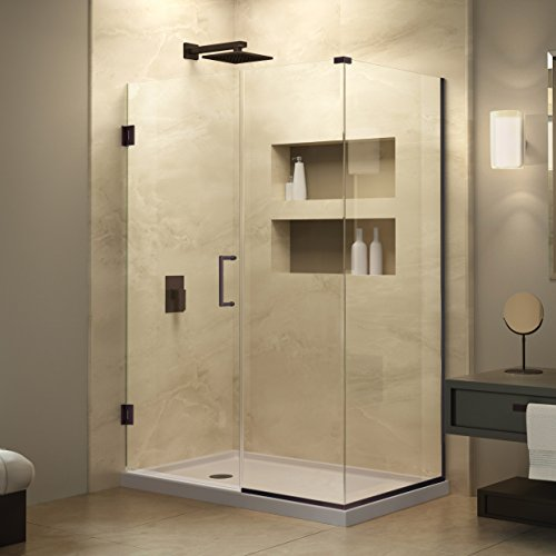 DreamLine Unidoor Plus 34 3/8 in. D x 35 in. W, Frameless Hinged Shower Enclosure, 3/8'' Glass, Oil Rubbed Bronze Finish by DreamLine