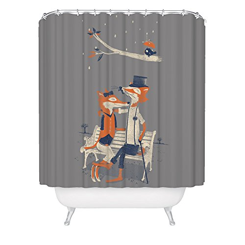 Fuzzy Ink Cute Fox Shower Curtain Hipster Dapper Forest Animals Vintage Romantic Love Birds Fabric Bathroom - Shower Curtain Hipster