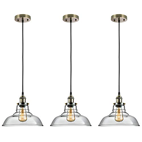 Salking Industrial Hanging Lamp, Vintage Edison Clear Glass Pendant Light, Adjustable Hanging Height(Fabric Cord), Antique Brass Brushed Antique Socket, Modern Vintage Farmhouse Kitchen Lamp, 3-Pack