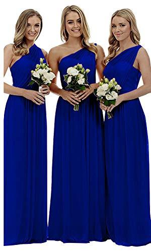 liangjinsmkj Women's One Shoulder Bridesmaid Dresses Long Asymmetric Chiffon Wedding Party Gowns Royal Blue - Asymmetric Ruched Dress